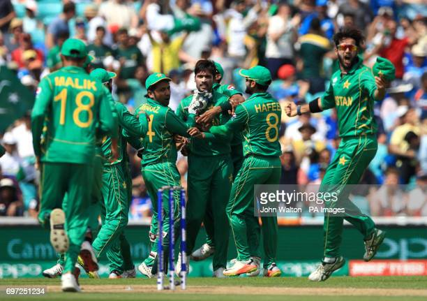 Pakistan's Mohammad Amir celebrates the wicket of India's Virat Kohli during the ICC Champions Trophy final at The Oval London