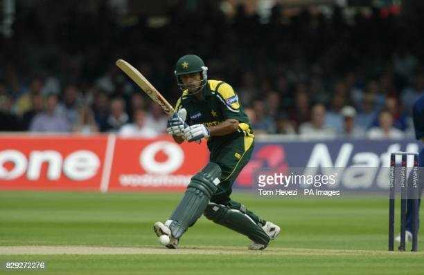 Pakistan's Mohammad Hafeez drives the ball during the third NatWest Challenge match at Lords St John's Wood London