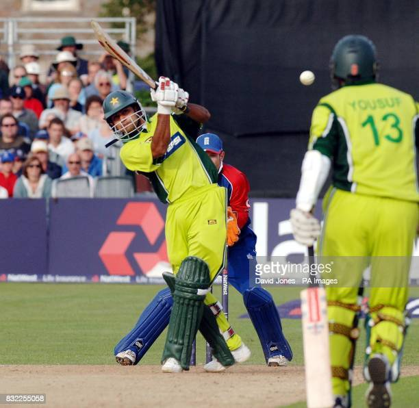 Pakistan's Mohammad Hafeez keeps the scoreboard ticking over as his side beat England during the Natwest Twenty20 International match at The County...