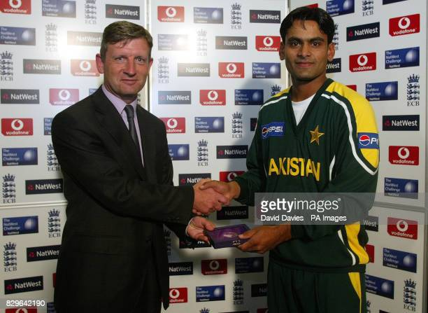 Pakistan's Mohammad Hafeez recieves his Man of the Match award after the NatWest Challenge match at Old Trafford Manchester