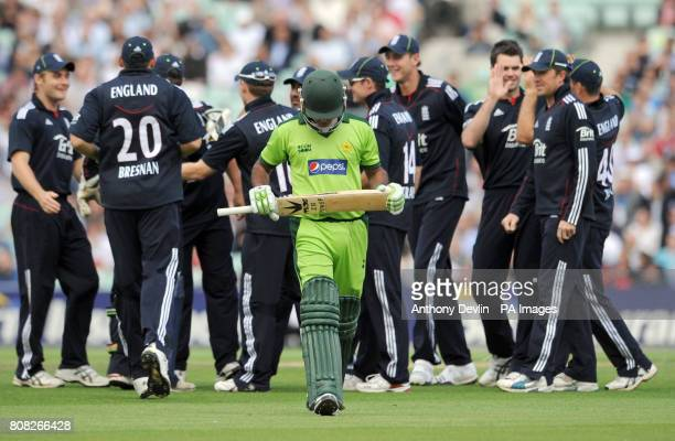 Pakistan's Mohammad Hafeez walks off after being dismissed by England's James Anderson during the Third One Day International at the Brit Insurance...