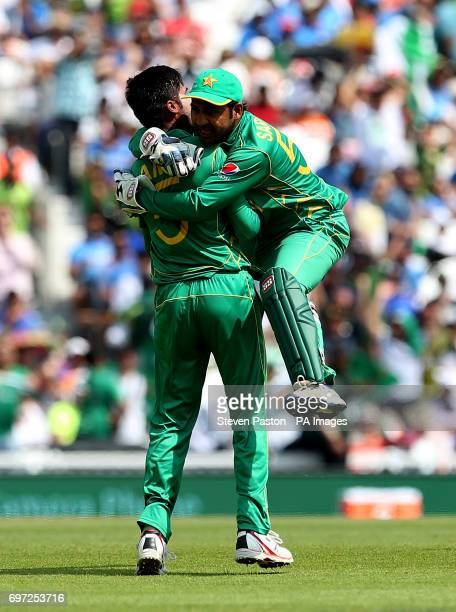 Pakistan's Muhammad Amir celebrates the wicket of India's Virat Kohli during the ICC Champions Trophy final at The Oval London