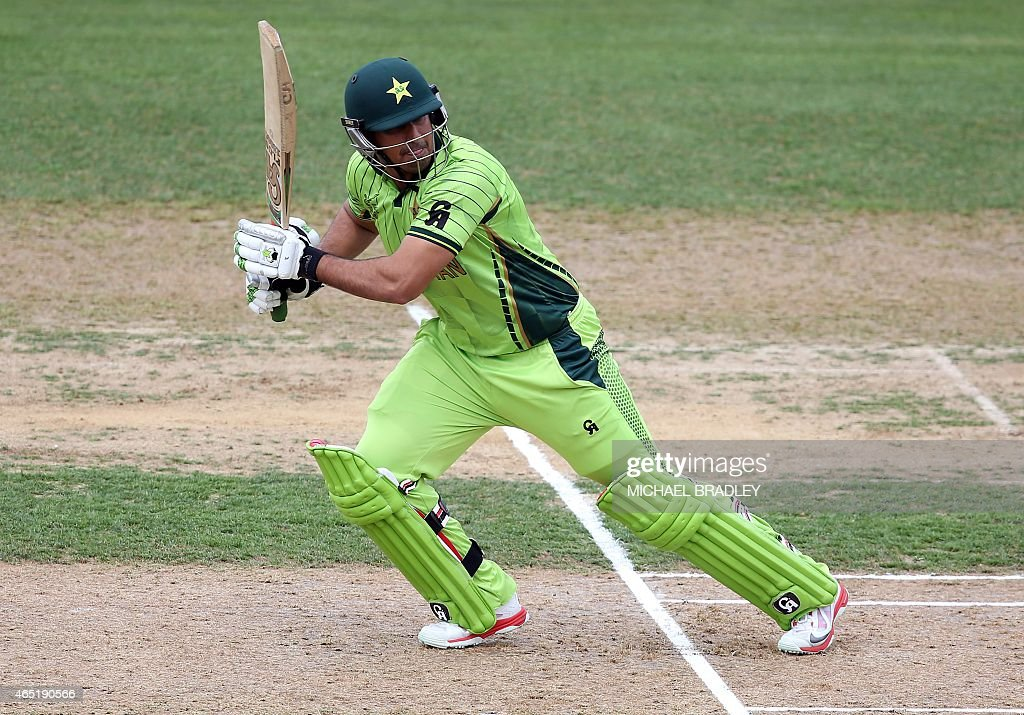 Pakistan's <a gi-track='captionPersonalityLinkClicked' href=/galleries/search?phrase=Nasir+Jamshed&family=editorial&specificpeople=4819500 ng-click='$event.stopPropagation()'>Nasir Jamshed</a> plays a shot during the Pool B Cricket World Cup match between United Arab Emirates and Pakistan at McLean Park in Napier on March 4, 2015.  AFP PHOTO / Michael Bradley