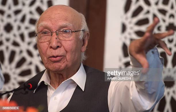 Pakistan's National Security Advisor Sartaj Aziz briefs the media about the August 8 suicide bombing at The Civil Hospital in Quetta in Islamabad on...