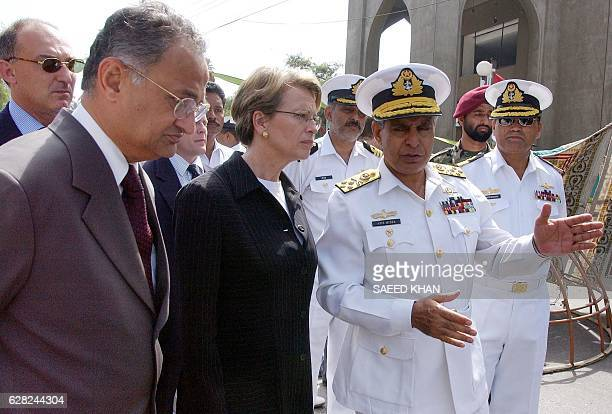 Pakistan's Naval Chief Admiral Aziz Mirza briefs French Defence Minister Michele AlliotMarie about the suicide bombing incident at the site in...