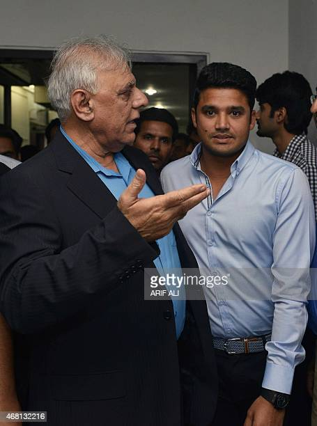 Pakistan's newly appointed oneday international captain Azhar Ali leaves after a media briefing in Lahore on March 30 2015 Pakistan's cricket chiefs...