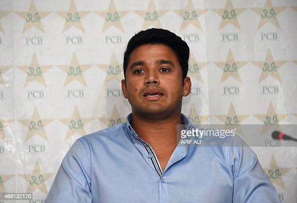 Pakistan's newly appointed oneday international captain Azhar Ali speaks at a media briefing in Lahore on March 30 2015 Pakistan's cricket chiefs...