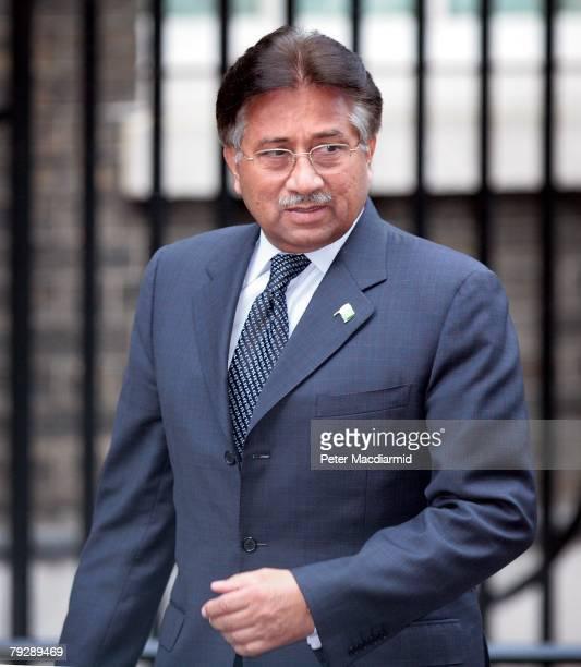 Pakistan's President Pervez Musharraf arrives in Downing Street on January 28 2008 in London England President Musharraf will hold talks with Prime...