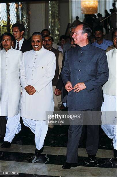 Pakistan's President Zia Ul haq with Karim Aga Khan in Pakistan on March 21th1983