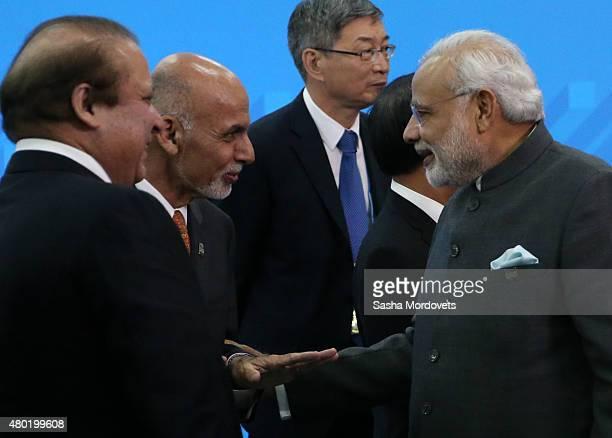 Pakistan's Prime Minister Nawaz Sharif Afghan President Mohammad Ashraf Ghani and Indian Prime Minister Narendra Modi during the Shanghai Cooperation...