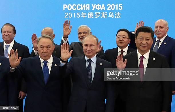 Pakistan's Prime Minister Nawaz Sharif Kazakh President Nursultan Nazarbayev Indian Prime Minister Narendra Modi Russian President Vladimir Putin...