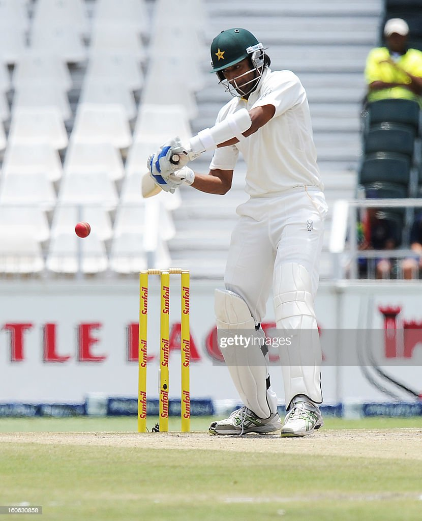 Pakistan's Rahat Ali bats on February 4, 2013 on day four of the first Test match against South Africa at Wanderers stadium in Johannesburg.