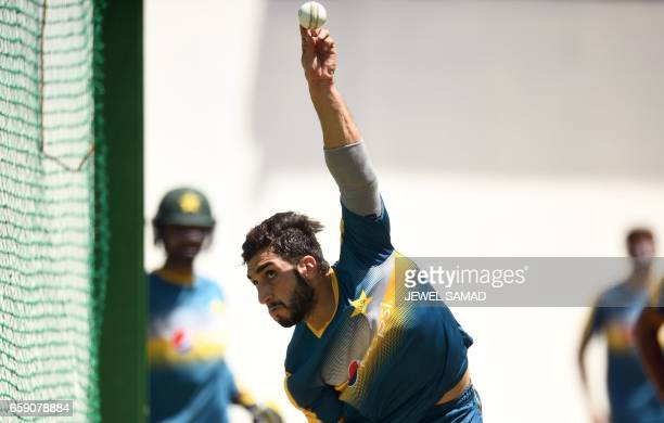 Pakistan's Rumman Raees delivers a ball during a practice session at the Queen's Park Oval in Port of Spain Trinidad on March 28 2017 / AFP PHOTO /...