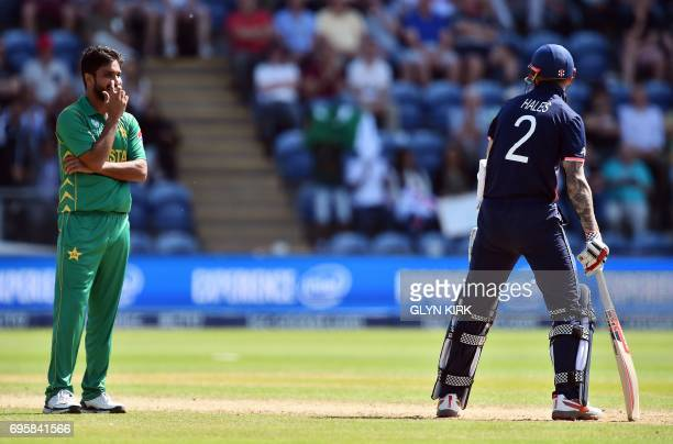 Pakistan's Rumman Raees smiles at England's Alex Hales after he escapes an LBW decision during the ICC Champions Trophy semifinal cricket match...
