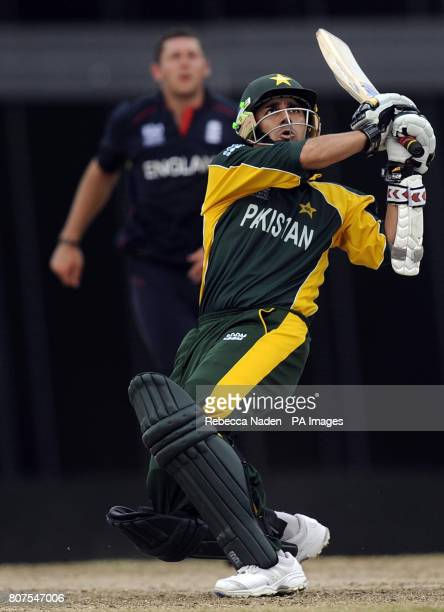 Pakistan's Saeed Ajmal hits the ball for 6 runs during the ICC World Twenty20 Super Eights match at the Kensington Oval Bridgetown Barbados