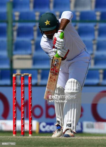 Pakistan's Sarfraz Ahmed bats during the fifth day of the first Test cricket match between Sri Lanka and Pakistan at Sheikh Zayed Stadium in Abu...