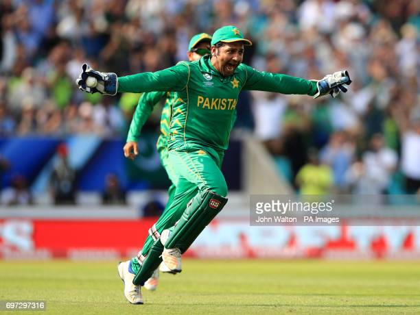Pakistan's Sarfraz Ahmed celebrates after catching India's Jasprit Bumrah out to win the match during the ICC Champions Trophy final at The Oval...