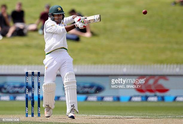 Pakistan's Sarfraz Ahmed hits the ball during day three of the second cricket Test match between New Zealand and Pakistan at Seddon Park in Hamilton...