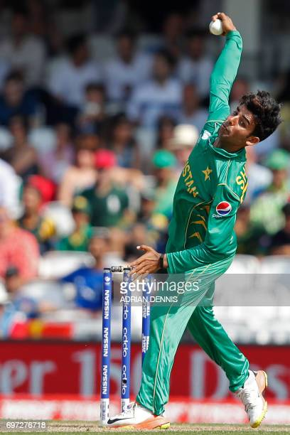 Pakistan's Shadab Khan bowls during the ICC Champions Trophy final cricket match between India and Pakistan at The Oval in London on June 18 2017...