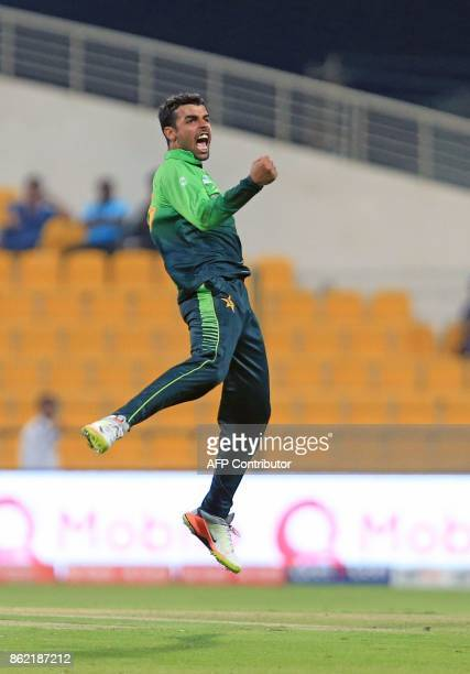 Pakistan's Shadab Khan celebrates after dismissing Sri Lanka's Milinda Siriwardana during the second one day international cricket match between Sri...