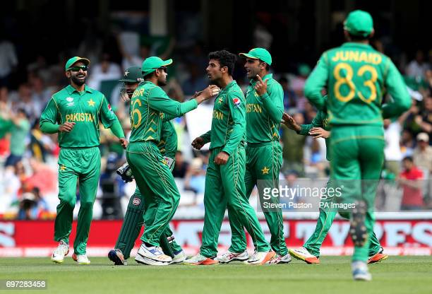 Pakistan's Shadab Khan celebrates the wicket of India's Kadar Jadhav during the ICC Champions Trophy final at The Oval London
