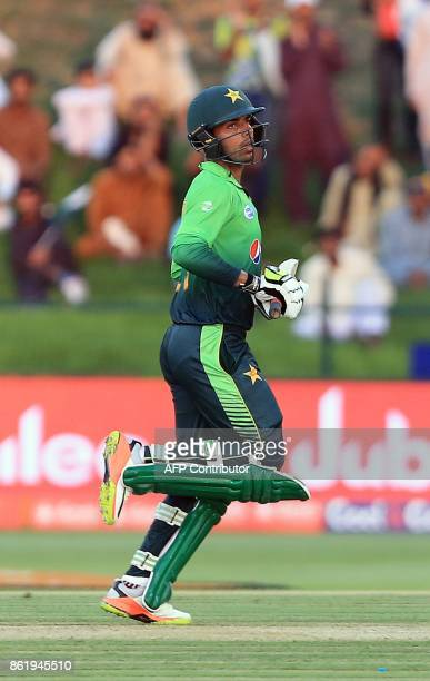 Pakistan's Shadab Khan runs between the wicket during the second one day international cricket match between Sri Lanka and Pakistan at Sheikh Zayed...