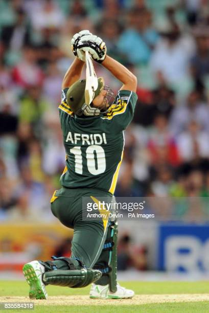 Pakistan's Shahid Afridi bats during the ICC World Twenty20 Super Eights match at The Brit Oval London