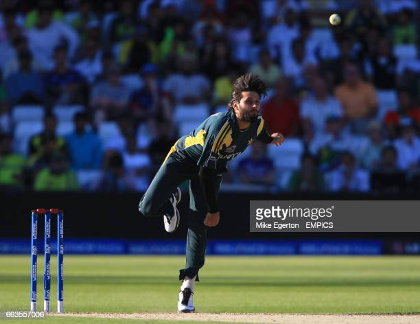 Pakistan's Shahid Afridi bowls against South Africa