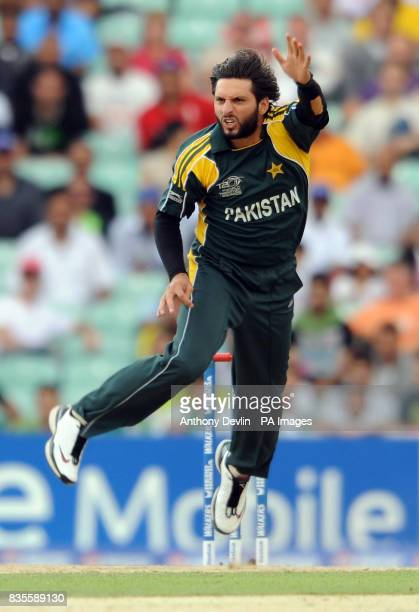 Pakistan's Shahid Afridi bowls during the ICC World Twenty20 Super Eights match at The Brit Oval London