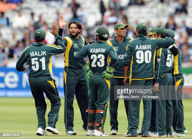 Pakistan's Shahid Afridi celebrates his second wicket during the ICC World Twenty20 Super Eights match at Lord's London