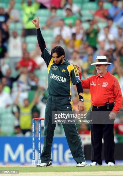 Pakistan's Shahid Afridi celebrates taking the wicket of Ireland's Paul Stirling during the ICC World Twenty20 Super Eights match at The Brit Oval...