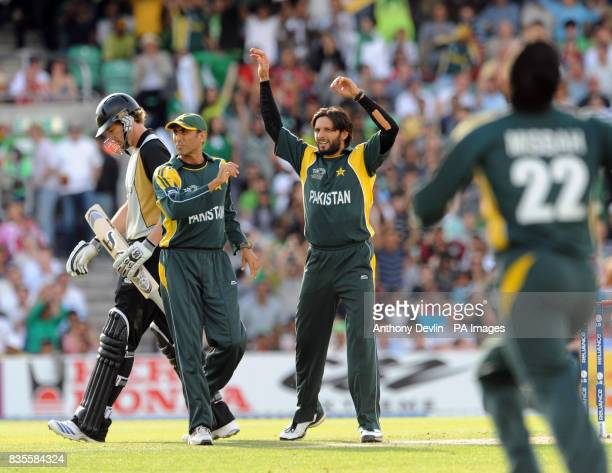 Pakistan's Shahid Afridi celebrates taking the wicket of New Zealand's Jacob Oram during the ICC World Twenty20 Super Eights match at The Brit Oval...