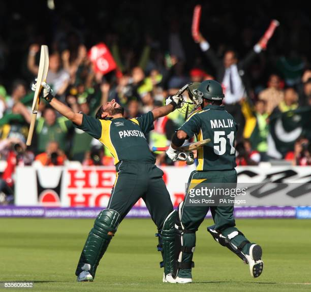 Pakistan's Shahid Afridi celebrates victory after hitting the winning runs during the Final of the ICC World Twenty20 at Lords London