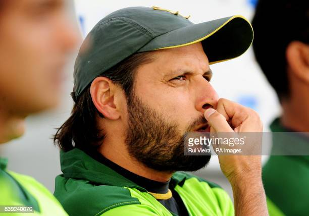 Pakistan's Shahid Afridi during the First Twenty20 International match at Edgbaston Birmingham Picture date Monday July 5 2010 See PA story CRICKET...