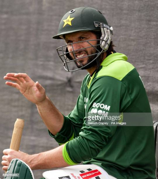 Pakistan's Shahid Afridi during the nets session at the Emirates Durham ICG Durham
