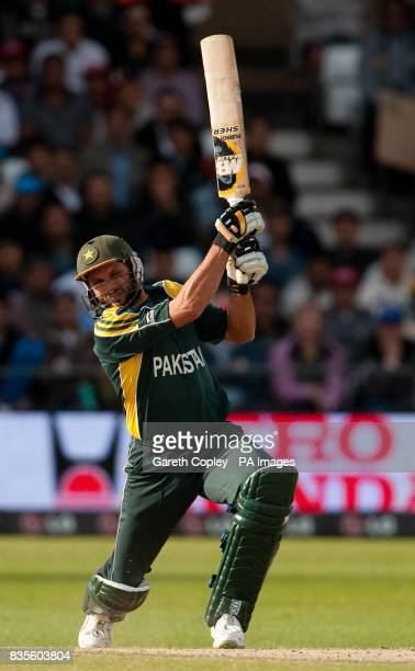 Pakistan's Shahid Afridi hits out during the ICC World Twenty20 Semi Final at Trent Bridge Nottingham