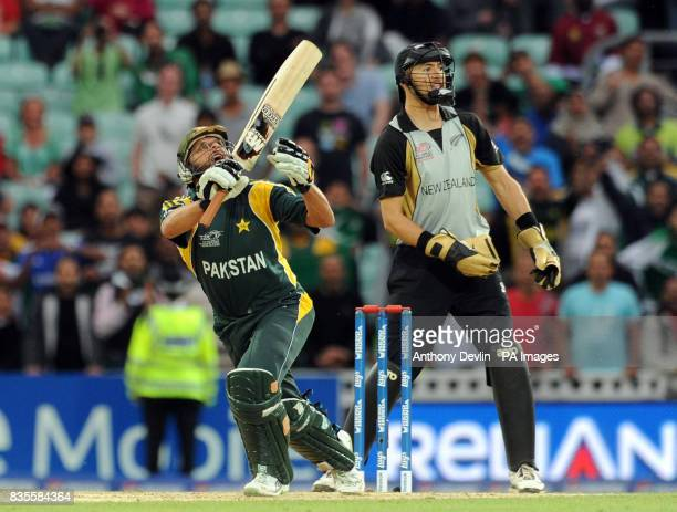 Pakistan's Shahid Afridi hits the winning runs for Pakistan during the ICC World Twenty20 Super Eights match at The Brit Oval London