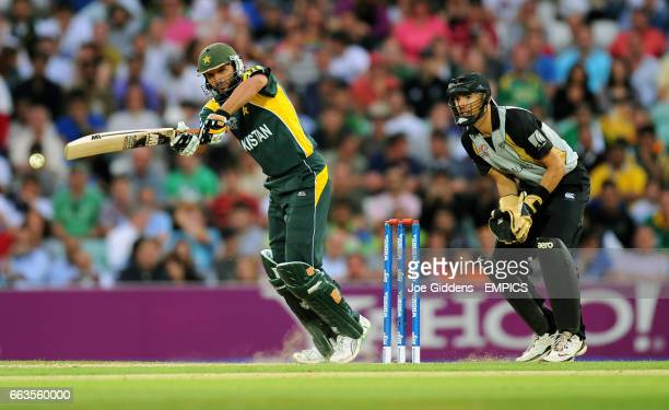 Pakistan's Shahid Afridi in action against New Zealand