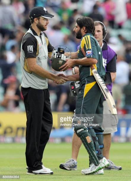 Pakistan's Shahid Afridi shakes hands with New Zealand captain Daniel Vettori after hitting the winning runs during the ICC World Twenty20 Super...