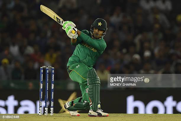 Pakistan's Sharjeel Khan bats during the World T20 cricket match between New Zealand and Pakistan at the Punjab Cricket Stadium Association Stadium...