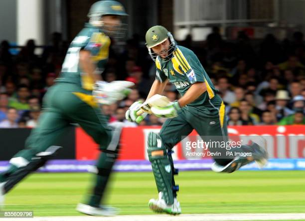 Pakistan's Shoaib Malik and Shahid Afridi chase down the Sri Lankan total during the Final of the ICC World Twenty20 at Lords London
