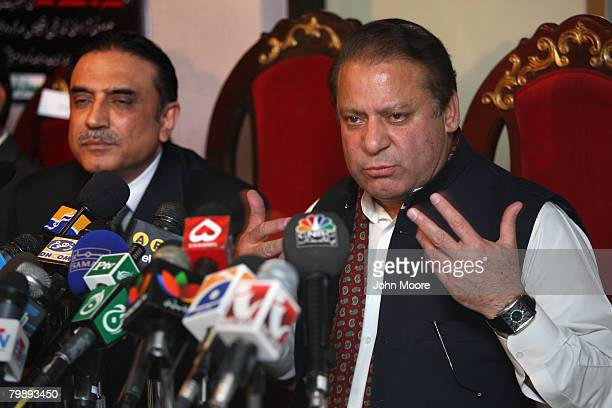 Pakistan's two main opposition party leaders former Prime Minister Nawaz Sharif head of the Pakistan Muslim League N and Asif Ali Zardari husband of...