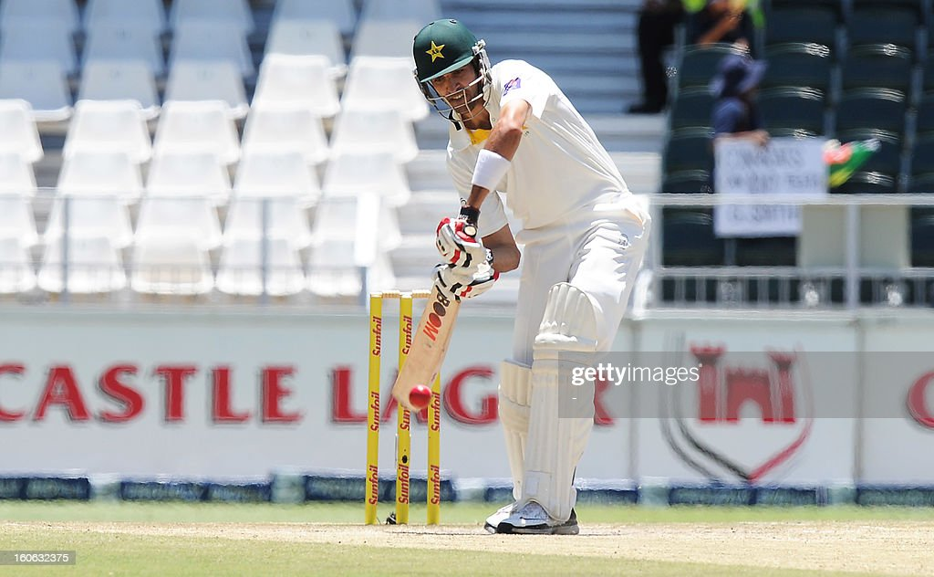 Pakistan's Umar Gul bats on February 4, 2013 on day four of the first Test match against South Africa at Wanderers stadium in Johannesburg.