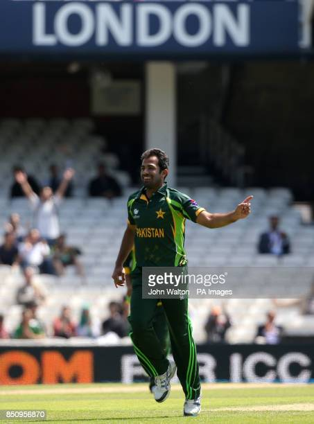 Pakistan's Wahab Riaz celebrates taking his third wicket that of South Africa's Farhaan Behardien for 1 during the ICC Champions Trophy Warm Up Match...
