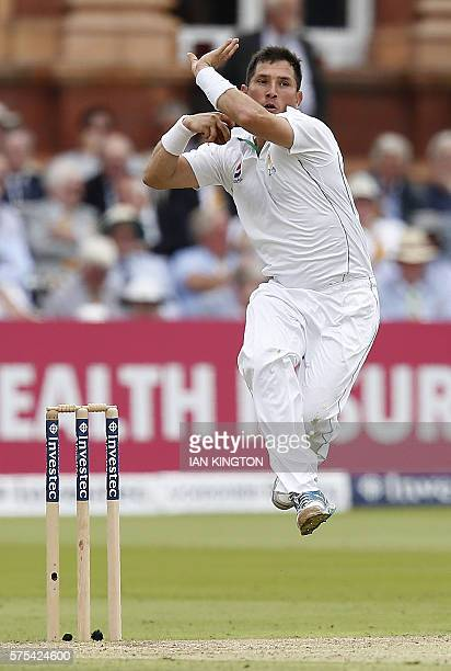 Pakistan's Yasir Shah runs to bowl a ball on the second day of the first Test cricket match between England and Pakistan at Lord's cricket ground in...