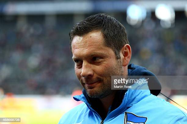 Pal Dardai head caoch of Berlin looks on before the Bundesliga match between Hertha BSC and SC Paderborn 07 at Olympiastadion on April 5 2015 in...