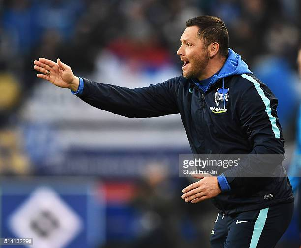 Pal Dardai head coach of Berlin gestures during the Bundesliga match between Hamburger SV and Hertha BSC at Volksparkstadion on March 6 2016 in...