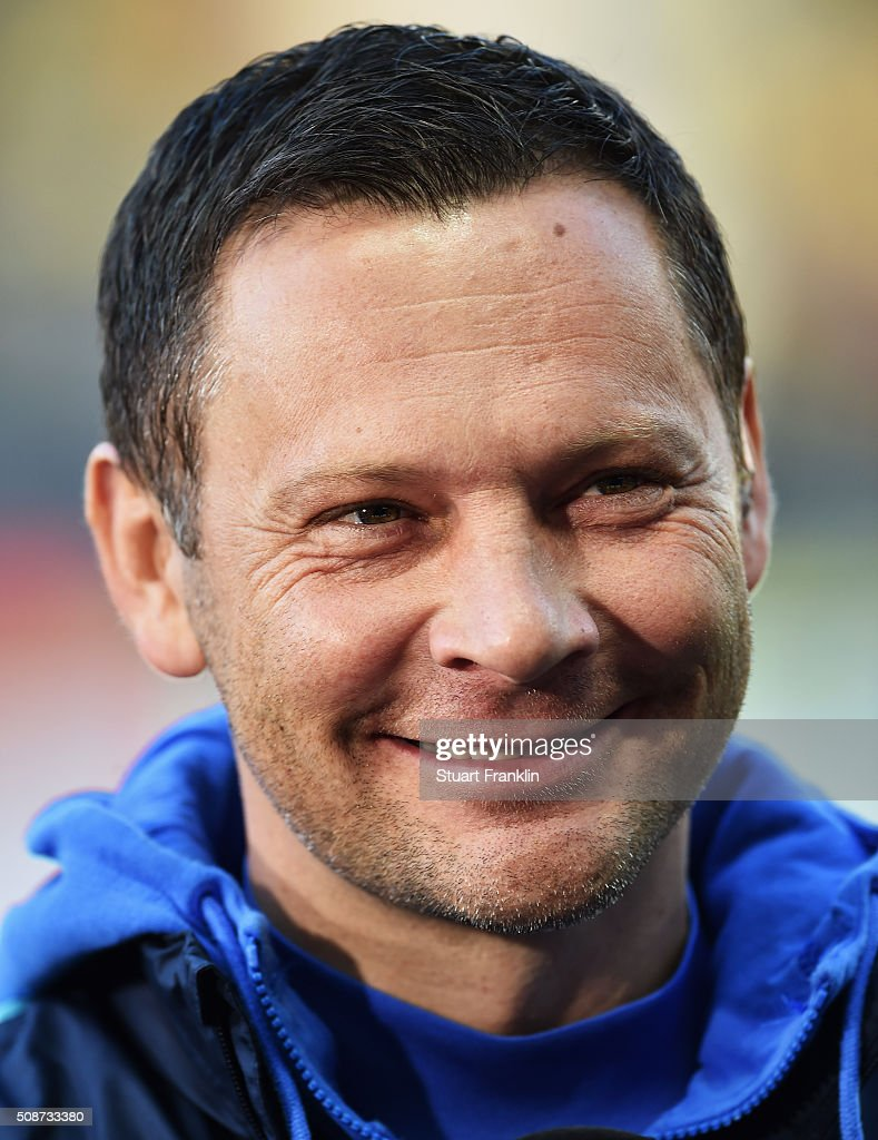 Pal Dardai, head coach of Berlin looks on during the Bundesliga match bewteen Hertha BSC and Borussia Dortmund at Olympiastadion on February 6, 2016 in Berlin, Germany.