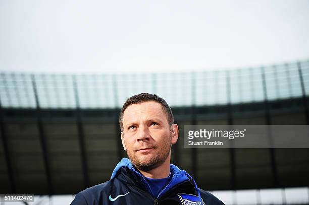 Pal Dardai head coach of Berlin looks on during the Bundesliga match between Hertha BSC and VfL Wolfsburg at Olympiastadion on February 20 2016 in...