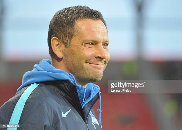 Pal Dardai head coach of Hertha BSC looks on prior to the Bundesliga match between FC Ingolstadt and Hertha BSC at Audi Sportpark on October 24 2015...